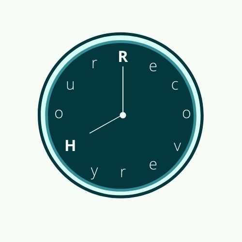 Recovery Hour Clock white numbers