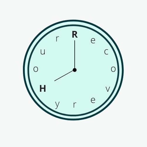 Recovery Hour Mint clock face